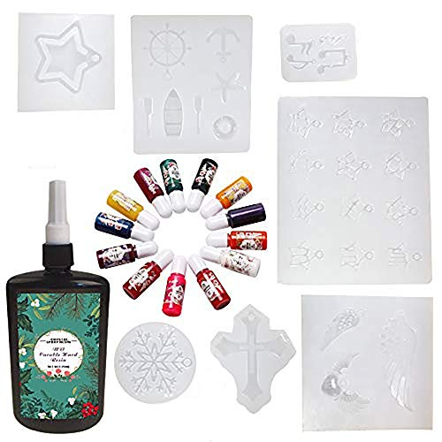 250ML Crystal Epoxy Resin UV Glue 13 Liquid Pigment Nail Art Tools 12 Constelaciones, Copo de nieve, Pentagram, Alas de ángel, Ancla naval, Nota musical, Cruz para accesorios de bricolaje Nail Art