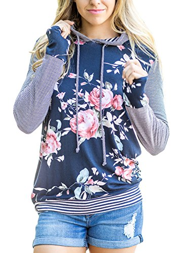 Leindr Womens Tunics Loose Fit Pullover Active Top Long Sleeve Floral Print Drawstring Hooded Sweatshirt Hoodies for Women Plus Size Blue L 12 14