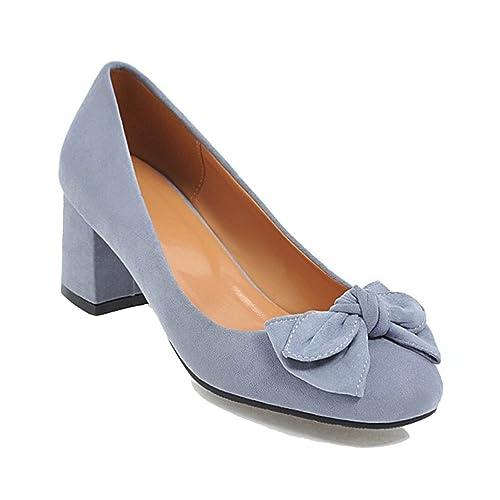 f27d88437ac HiTime Women s Comfort Suede 5 cm Mid Heeled Pumps Sweet Bowknot Princess  Dress Court Shoes OL