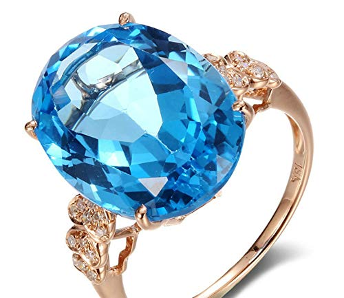 Rubyia Finger Rings Rose Gold 18 karat 11.5ct Blue Topaz with Heart Oval Size N½
