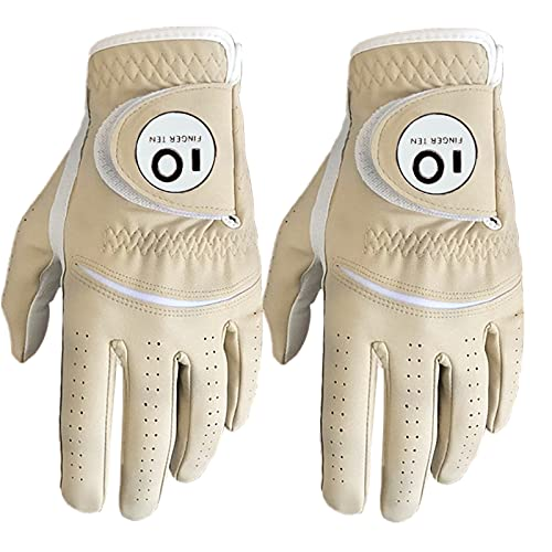 Golf Gloves Men Left Right Hand Rain Hot Wet Grip Value 2 Pack, White Blue Red Brown All Weather Fit in Size Small Medium ML Large XL (Brown, Large, Left)