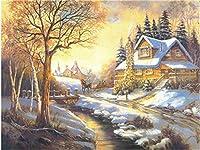 大人の子供のための数字キットによるペイント、ブラシ付きDIYキャンバス初心者の油絵の装飾、クリスマスハロウィーンのお土産アートクラフト、家の装飾フレームなし40x50cm - カントリースノー