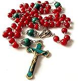 elegantmedical Handmade Turquoise & Red Coral Beads Rosary & Turquoise Cross Crucifix Necklace Catholic Gifts