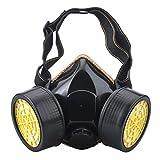 Ewolee Máscara Antigas, Gas Mask Respirador de Cartucho Doble Química Industrial Máscara Reutilizable, Respiradores de Seguridad contra Polvo Niebla Tóxica Pintura en Aerosol