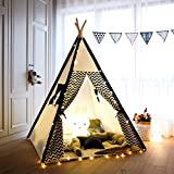 Tree Bud Kids Teepee Play Tent Cotton Canvas Child Indian Teepee Tent with White and Black Stripe Playhouse...