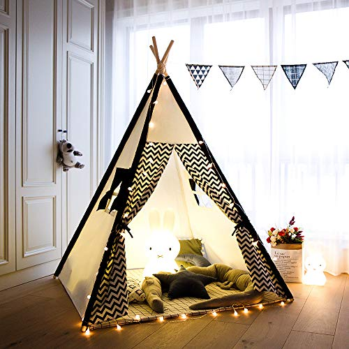 Tree Bud Kids Teepee Play Tent Cotton Canvas Child Indian Teepee Tent with White and Black Stripe Playhouse for Kids Indoors Outdoors with Carry Bag (Wave stripe)
