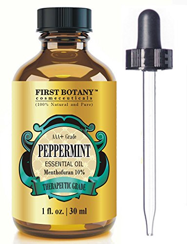 Peppermint Essential Oil 1 fl. oz Menthofuran 10% with Glass Dropper - 100% Natural Premium Grade Best Fresh Scent for Home and Work