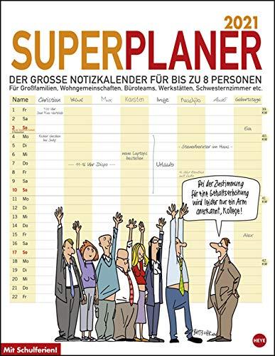 Butschkow Superplaner - Kalender 2021 - Heye-Verlag - Familienkalender - Mit 8 Spalten, Schulferien - 34 cm x 44 cm