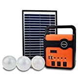 WSHA Panel de energía Solar Kit generador Bluetooth Iluminación de Carga de Emergencia con Radio MP3 Luz de 3 Bombillas LED, para áreas sin Electricidad