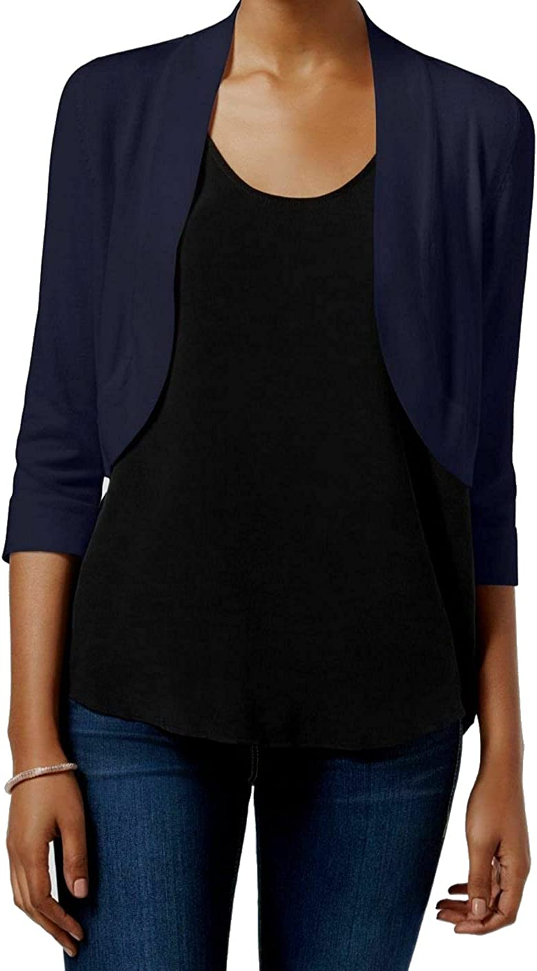 Jessica Howard Womens Ribbed Three Quarter Sleeves Cardigan Sweater