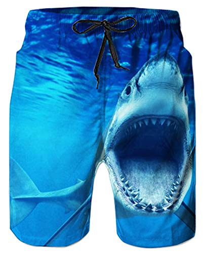 Mens Shark Swim Trunks Above Knee Length Beachwear 3D Printed Cool Ocean Fish Board Shorts for Man Quick Dry Beach Pants with Drawstring 80s Youth Casual Holiday Swimming Surf Wear, Shark S