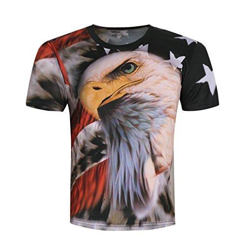 Tofox Herren Shirts 3D Druck Kurze Ärmel T-Shirts Gedruckt Adler und Flagge Muster Plus Size Kurzarm Tee Shirt,M-4XL