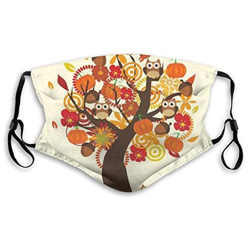 Mond Ma-sk, abstracte herfstboom met bloemen eiken pompoenen en uilen, royale natuur, geprinte gezichtdecoraties met filter voor volwassenen en kinderen