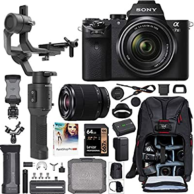 Sony a7 II Full-Frame Alpha Mirrorless Digital Camera a7II + 28-70mm Lens ILCE-7M2/K Filmmaker's Kit with DJI Ronin-SC 3-Axis Handheld Gimbal Stabilizer Bundle + Deco Photo Backpack + 64GB + Software from Sony