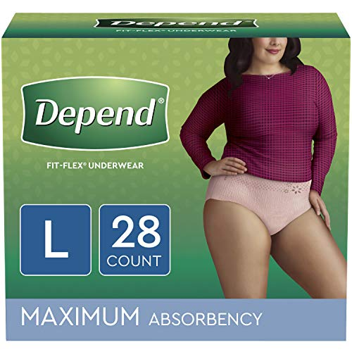 Depend FIT-FLEX Incontinence Underwear for Women, Disposable, Maximum Absorbency, L, Blush, 28 Count (Packaging May Vary)