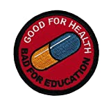 Iron On Akira Kaneda Good for Health Bad for Education Japanese Anime Emo Punk Scifi Patch