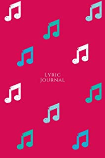 Lyric Journal: Songwriter's Notebook for Musicians Students and Music Lovers Watermelon Red with Blue and White Music Notes
