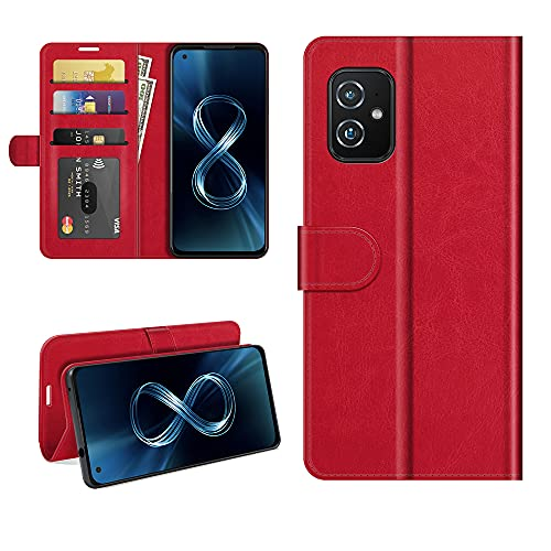 HERCN Funda Compatible con ASUS Zenfone 8 ZS590KS 5.9',Premium Slim Flip Case de PU Cuero con Ranura para Tarjetero,Cierre Magnético y Función de Soporte Case Cover (Rojo)