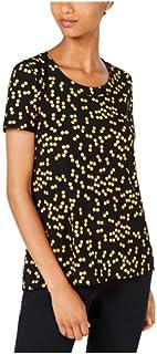 Anne Klein Dot-Print Crewneck Top - Anne Black/Cezanne Yellow XXS