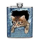 Nette Jeans Cat Fashion tragbare Edelstahl-Flachmann-Whiskyflasche für Männer und...