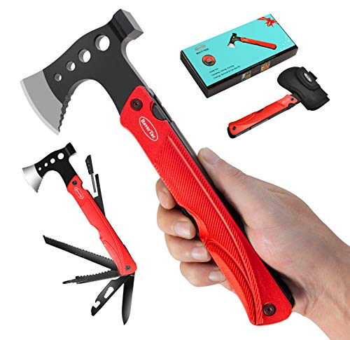 RoverTac Multitool Lockable Camping Tool Survival Gear Longer 14 in 1 Stainless Steel Hatchet Hammer Knife Saw Screwdrivers Bottle Opener Fire Starter Whistle and Sheath for Outdoor Hiking Camping