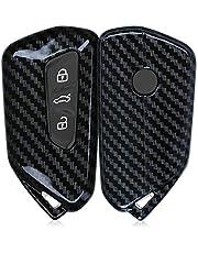 kwmobile Cover copri-chiave compatibile con VW Golf 8 con 3 tasti - Guscio protettivo chiavi auto - copertina in plastica rigida - Carbone nero