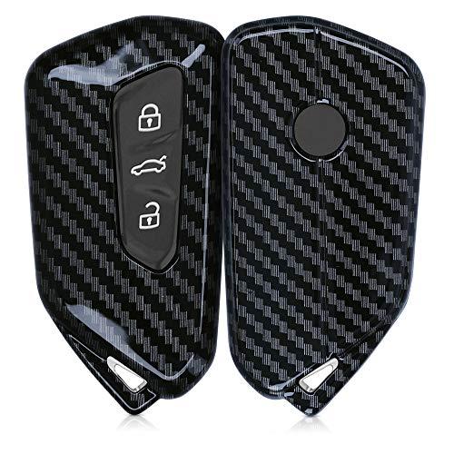 kwmobile Funda Compatible con VW Golf 8 Llave de Coche de 3 Botones - Carcasa Dura para Llave de Coche Mando de Auto - Carbono Negro