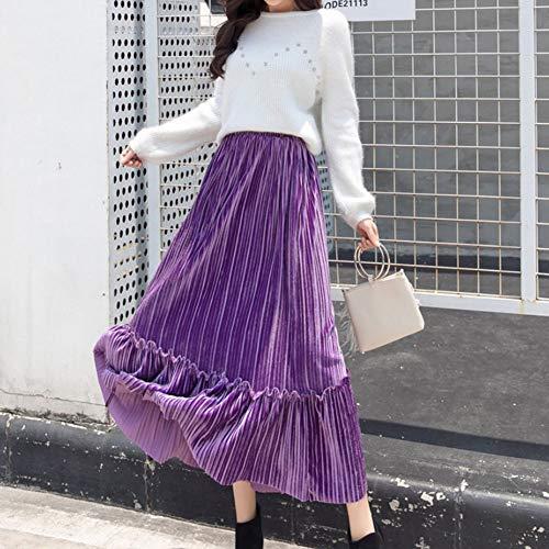 Yiwa dameskleding, herfst, winter, plooirok, fluweel, goudkleurig, hoge taille, halve rok