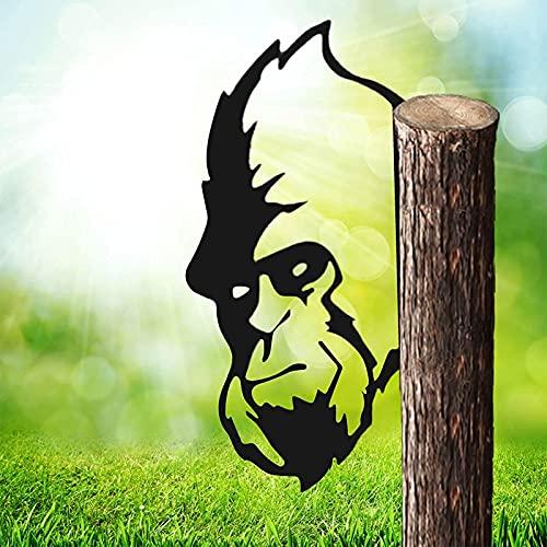Ylight Decoración Exterior orangután Voyeur Metal Granja 3D Arte Metal orangután Voyeur Trabajo Arte Metal orangután Voyeur Granja jardín Animales Silueta orangután decoración Estatua
