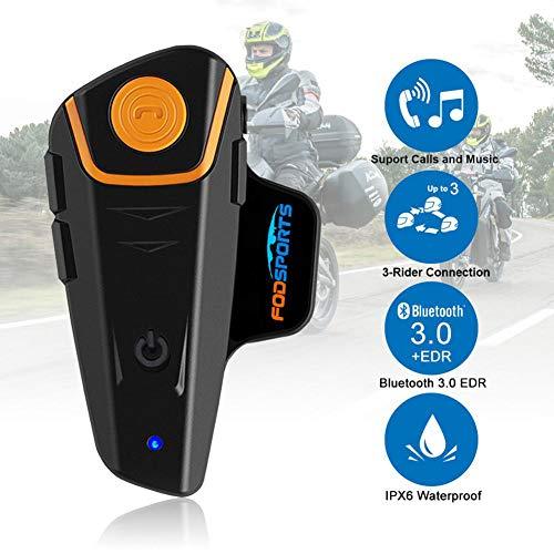 BOOM Wasserdicht Motorrad Headsets Bluetooth Intercom, mit 1000m, GPS FM Radio MP3 Player Wireless Sprechanlage Helm Headset, für Handy Anruf Musikhören,American Standard