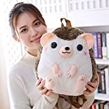 N / A Hedgehog Plush Backpack Hedgehog Mochilas Suaves Muñeca Plush Shoulder Bag Cumpleaños Niños Niños Niñas Regalo 30x28cm