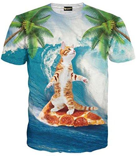 Pizoff unisex Herren T-Shirt Sommer Rundhalsausschnitt kurze Ärmel Surfen pizza katzen Muster in Mode Spaß Hip Hop bequeme Tops, Y1625-89, Gr. M(EU-S)