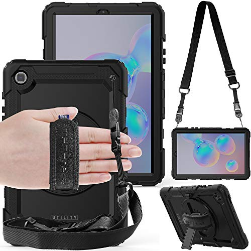 TECHGEAR UTILITY Case fits New Samsung Galaxy Tab S6 Lite 10.4' (SM-P610 / SM-P615) Tough Rugged HEAVY DUTY Armour Shockproof Case with 360 Rotating Stand, Hand Strap and Shoulder Strap Case - Black