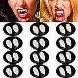 Blulu 12 Pares Dientes de Vampiro de Halloween Colmillos de Vampiro Dentaduras Falsas de Disfraz para Suministros de Fiesta de Disfraces de...