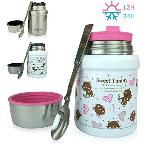 Wenburg Recipiente Térmico/Wolton 450 ml I Recipiente Aislante Premium con Cuchara, Comida para bebés, sopas. Fiambrera de Acero Inoxidable al Vacío para Llevar I Bebé (Gatos)