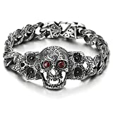 Mens Steel Fancy Curb Chain Bracelet with Vintage Sugar Skulls Charm Red Cubic Zirconia Eyes