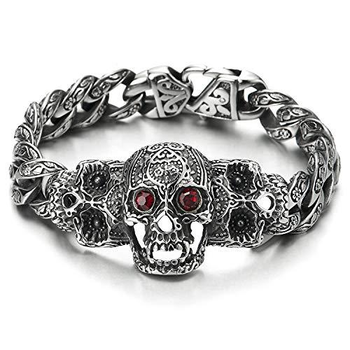 COOLSTEELANDBEYOND Mens Steel Fancy Curb Chain Bracelet with Vintage Sugar Skulls Charm Red Cubic Zirconia Eyes