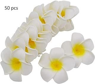 TangTanger 50 Pcs Hawaiian Foam Artificial Plumeria Hawaiian Flower Petals for Wedding Party Decoration