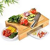IKKLE Dickes Bambusholz Schneidbrett, Organic Antibakterielles Metzgerbrett für die Küche,Schneidbrett für Fleisch, Käse, Früchte,Gemüse