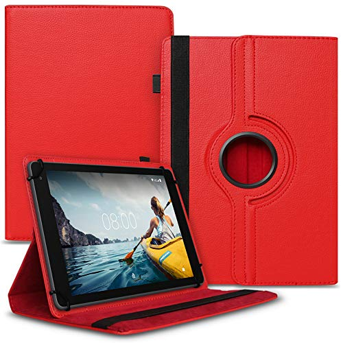 UC-Express Tablet Hülle kompatibel für Medion Lifetab P8502 Tasche Schutzhülle Hülle Cover aus Kunstleder Standfunktion 360° Drehbar, Farben:Rot