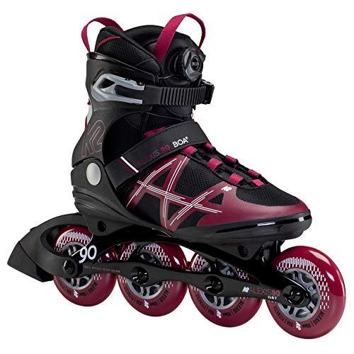 K2 Skates Damen Inline Skate Alexis 90 BOA — Black - Burgundy — EU: 36.5 (UK: 4 / US: 6.5) — 30F0193