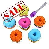 24 moldes para pastelitos de donuts establecidos por KeepingcooX- Molde para postres acanalados de silicona, vasos pequeños para hornear - calabaza, estrella, flor, corazón, moldes Savarin
