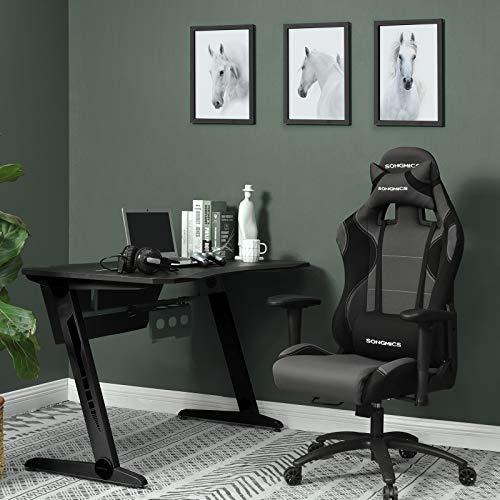 SONGMICS Chaise Gamer Fauteuil de Bureau Racing, 52 X 56,5 X (128-138) cm