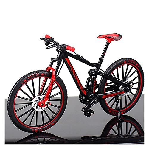 1:10 Mini Model Alloy Bicycle Toy Finger Mountain Bike Pocket Diecast Simulation Metal Racing Funny Collection Toys For Children (Color : Red)