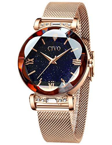 CIVO Uhren Damen Roségold Uhr wasserdichte Edelstahl Mesh Armbanduhr für Damen Frauen Elegantes Kleid Analog Uhren mit Sternenhimmel Zifferblatt