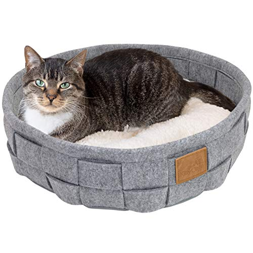 Kitty City Large Faux Leather Trimmed Felt Cat Cave, Warm and Cozy cat Bed, Gray, CM-10110-CS01