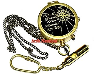Arsh Nautical Solid Brass Compass J. R. R. Tolkien Quote Black Finish Free Keyring