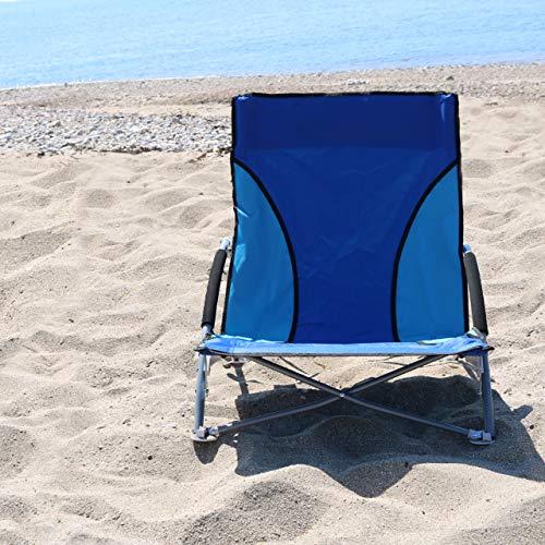 NALU Folding Low Camping Chair, Lightweight, Foldable, Portable Garden Beach Seat - Blue