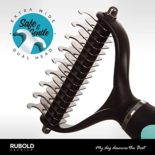 RUBOLD Dematting Tool for Dogs - Cat and Dog Brush for Shedding and Removing Mats - Undercoat Rake Comb for Safe and Gentle Grooming - Designed for Medium and Long Haired Cats Dogs and Every Other Pet