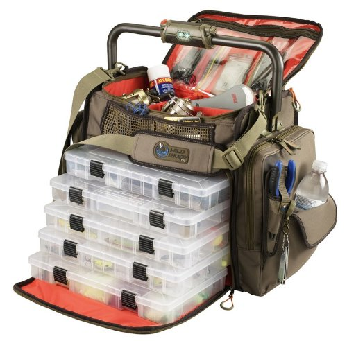 Wild River by CLC Custom Leathercraft WT3702 Tackle Tek Frontier Lighted Handle Bar Fishing Tackle Bag, 5 PT3700 Trays